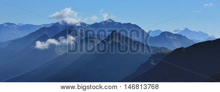 View from Mt Niesen. Mountain peaks in the Bernese Oberland. Summer scene in the Swiss Alps.