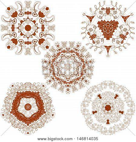 Vector set from five brown round mandalas. Vector mandalas. Ethnic decorative elements. Hand drawn mandalas.