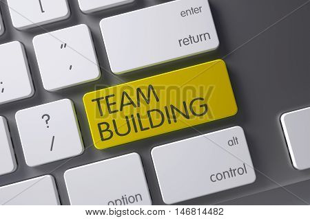 Concept of Team Building, with Team Building on Yellow Enter Keypad on Slim Aluminum Keyboard. 3D Render.
