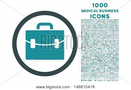 Case rounded vector bicolor icon with 1000 medical business icons. Set style is flat pictograms, soft blue colors, white background.