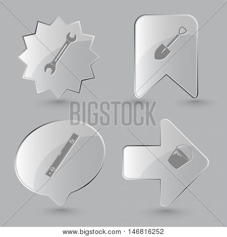 4 images: spanner, spade, spirit level, bucket. Industrial tools set. Glass buttons on gray background. Vector icons.
