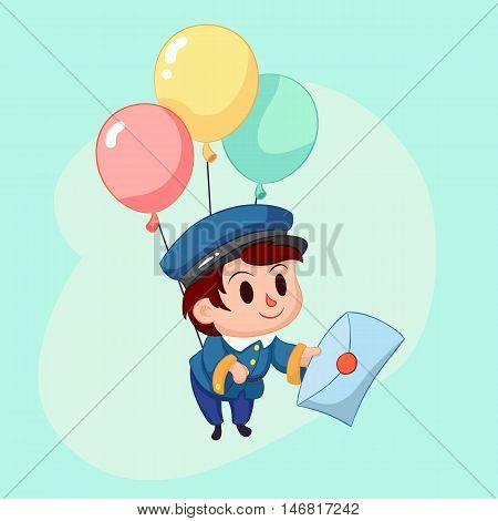 Postman delivery mail. Friendly post man in blue uniform with letter. Funny cartoon vector illustration eps10