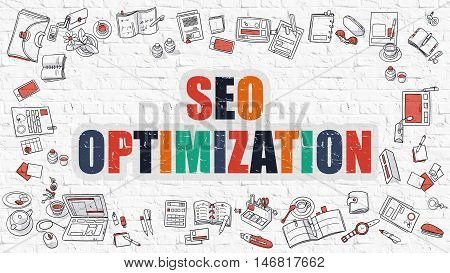 SEO - Search Engine Optimization - Optimization - Multicolor Concept with Doodle Icons Around on White Brick Wall Background. Modern Illustration with Elements of Doodle Design Style.