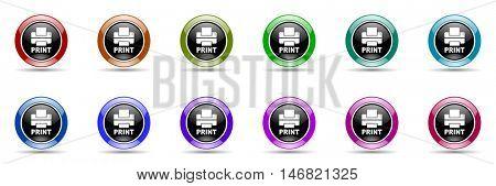 printer round glossy colorful web icon set