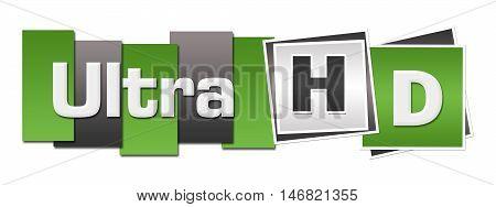 Ultra HD text alphabets written over green grey background.