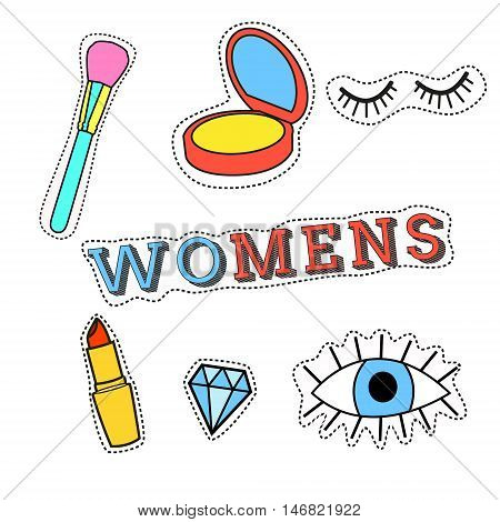 Fashion patch badges with lips hearts speech bubbles stars and other elements. Vector