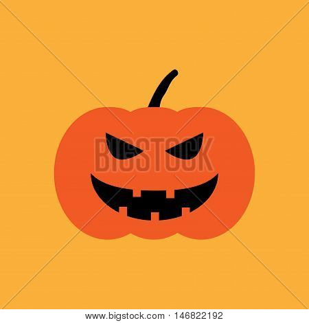 Halloween pumpkin sign. Image of jack-o-lantern. Color icon isolated on orange background. Symbol of autumn holiday. Logo for party. Horror face on vegetable. Mark of All hallows' day. Stock vector
