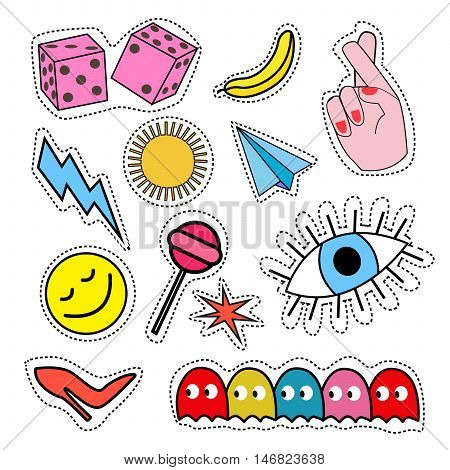 Fashion patch badges with lips hearts speech bubbles stars and other elements.