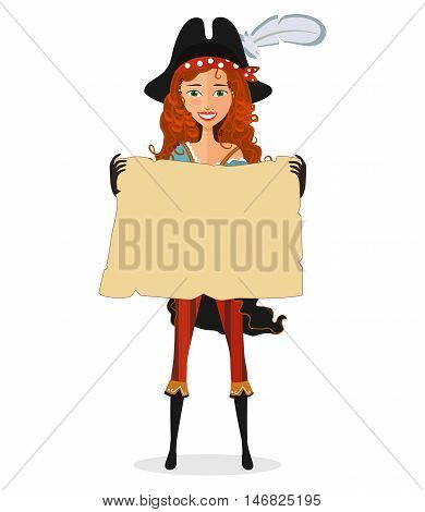 Pirate woman with scroll isolated on a white background flat cartoon vector illustration. Eps10. Isolated on a white background.