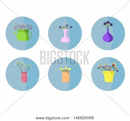 Flowers in a vase set. Beautiful flowers illustration .Vektor