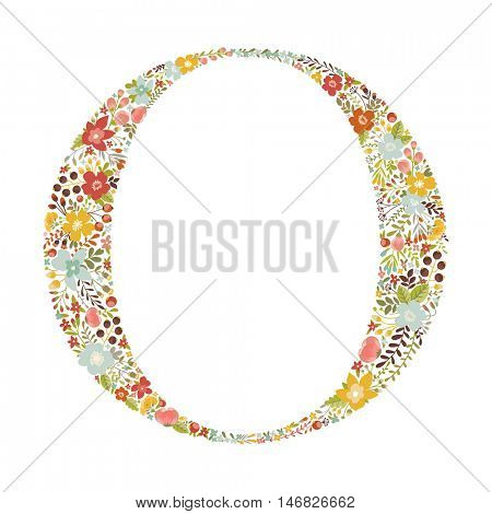O letter with decorative floral ornament