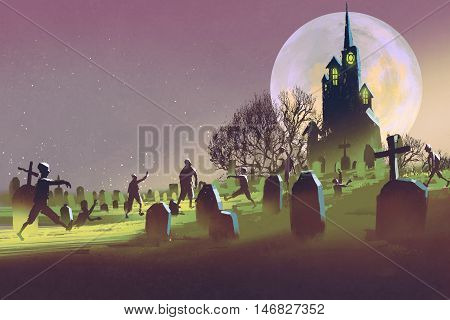 spooky castle, Halloween concept, cemetery with zombies at night, illustration painting