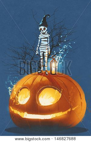 mummy standing on giant pumpkin, Jack O lantern, Halloween concept, illustration painting