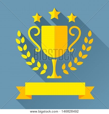 Golden trophy cup with laurel wreath, stars and ribbon