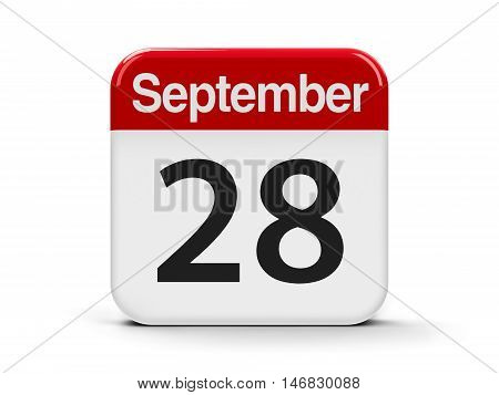 Calendar web button - The Twenty Eighth of September - World Rabies Day three-dimensional rendering 3D illustration