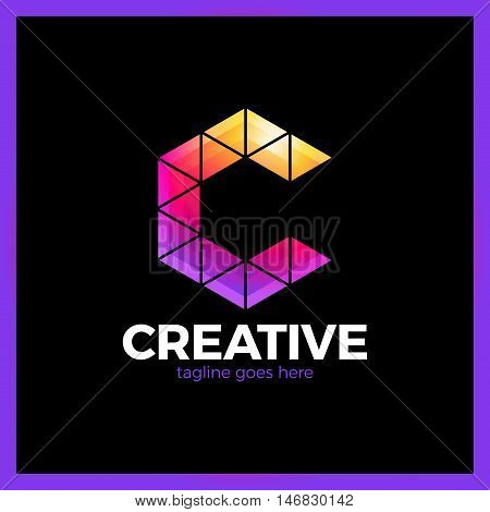 Clever, Creative, Triangle, Colorful, Letter C Logo. Smart And Idea Logotype
