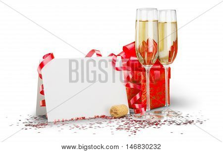Champagne Flutes with Streamer, Blank Card and Gift Box