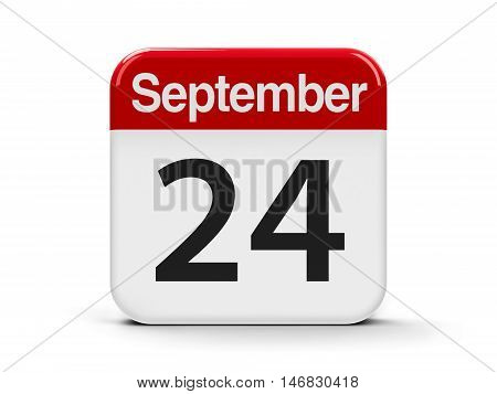 Calendar web button - The Twenty Fourth of September three-dimensional rendering 3D illustration
