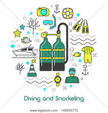 Diving Snorkeling Scuba Equipment Line Art Thin Vector Icons Set