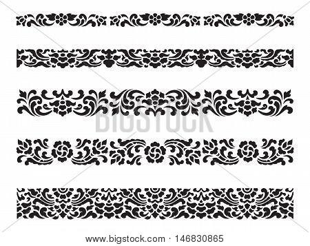 Line pattern Asian traditional art Design Vector set Thai traditional design (Lai Thai pattern)