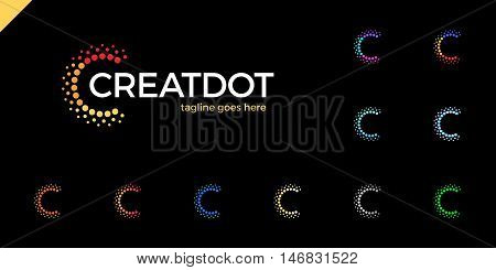 Clever, Creative, Dots, Point, Colorful, Letter C, Smart And Idea Logo Set. Letter C Logotype