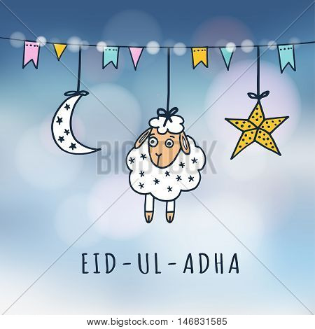 Eid-ul-adha mubarak greeting card with sheep moon star and flags. Festive blurred background. Muslim community festival of sacrifice. Vector illustration.