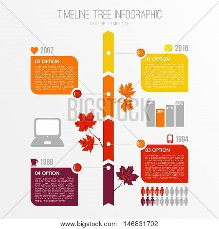 Timeline tree infographics template. Autumn fall flat design with maple leaves. Presentation elements. Stock vector illustration.