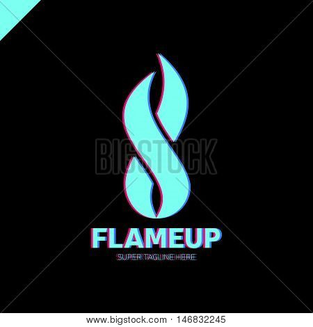 Flame Logo Template. Fire Vector Design. Number Eight