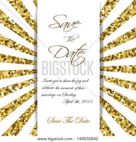 Cute cards with gold Confetti glitter. Perfect for valentines day, birthday, save the date invitation. Vector rays PS