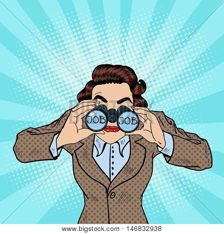 Young Pop Art Woman Searching for a Job and Looking into Binoculars. Vector illustration