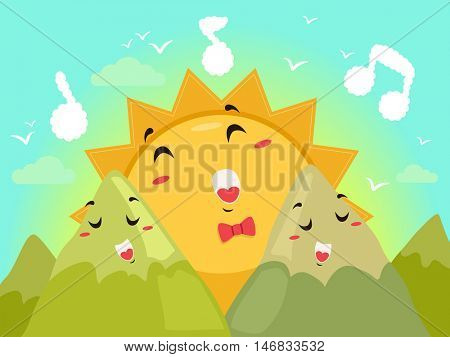 Mascot Illustration of a Sun Happily Singing with Two Mountain Mascots