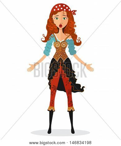Funny dumbfounded young pirate girl. Cartoon Astonished woman. Flat Emotional pirate girl Character isolated on a white background. Surprised woman. Vector. Extremely excited lady.