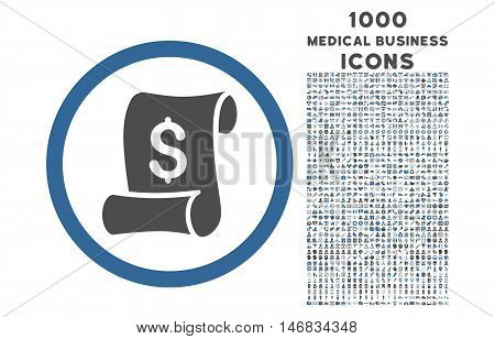 Financial Receipt Roll rounded vector bicolor icon with 1000 medical business icons. Set style is flat pictograms, cobalt and gray colors, white background.