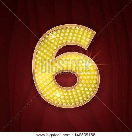 Gold light lamp bulb font number 6 Six. Sparkling glitter design in style of vegas casino, burlesque cabaret and broadway show decoration. Shining numbers symbols of alphabet set for light board