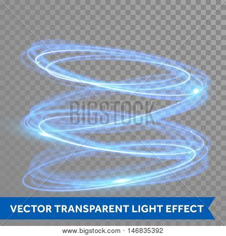 Vector neon circle light tracing effect. Glowing magic blue ring trace. Glitter sparkle swirl trail effect on transparent background. Round ellipse line with flying sparkling flash lights