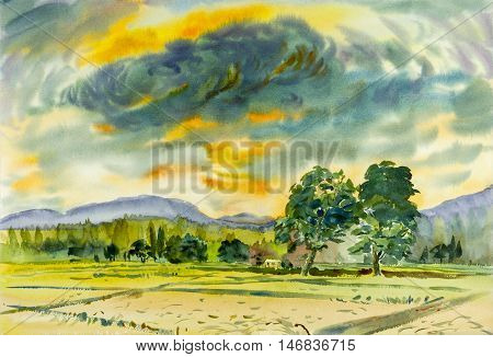 Watercolor landscape original painting colorful of rice field in mountain and emotion in blue background