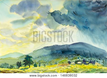 Watercolor landscape original painting colorful of Sunny rain and emotion in blue mountain background