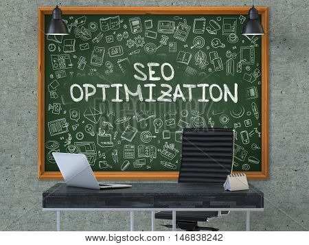 Green Chalkboard with the Text SEO - Search Engine Optimization - Optimization Hangs on the Gray Concrete Wall in the Interior of a Modern Office. Illustration with Doodle Style Elements. 3D.