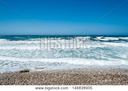 Beautiful sea of Naxos seen by the beach