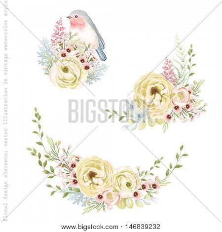 Collection tender decorations with bird Robin, flowers Ranunculus and leaves. Vector illustration in vintage style.