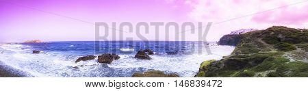 Abstract panorama of Naxos Hora in Greece