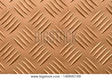 Aluminum plate with diamond shaped structure in copper color