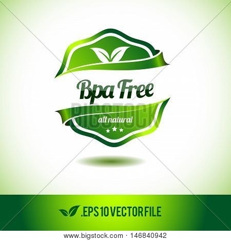 Bpa free badge label seal stamp logo text design green leaf template vector eps