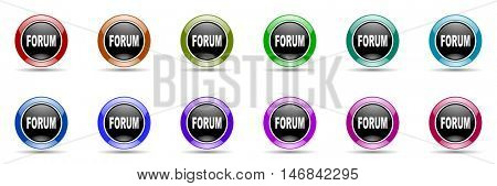 forum round glossy colorful web icon set