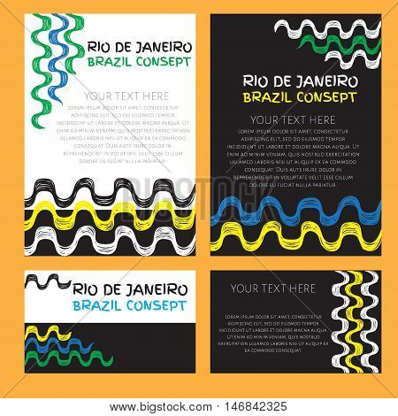 Abstract vector template design with colored lines and waves. Sport concept banners. Brazil, Ipanema hand drawn pattern.
