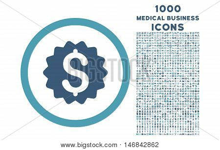 Financial Reward Seal rounded vector bicolor icon with 1000 medical business icons. Set style is flat pictograms, cyan and blue colors, white background.
