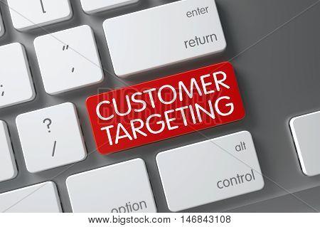 Customer Targeting Concept Slim Aluminum Keyboard with Customer Targeting on Red Enter Key Background, Selected Focus. 3D Illustration.