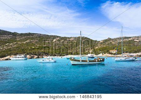 Boats at Spargi Island Archipelago of Maddalena Sardinia