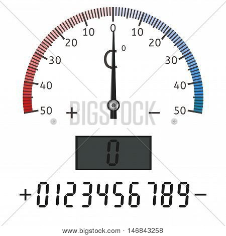 Thermometer scale. Semi-circle dial. Vector illustration isolated on white background