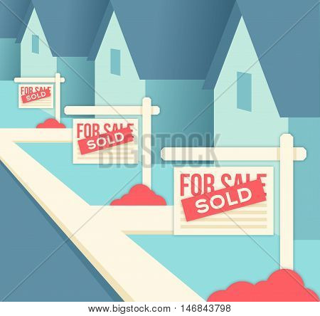 Real Estate Sold Signs Neighborhood background concept.